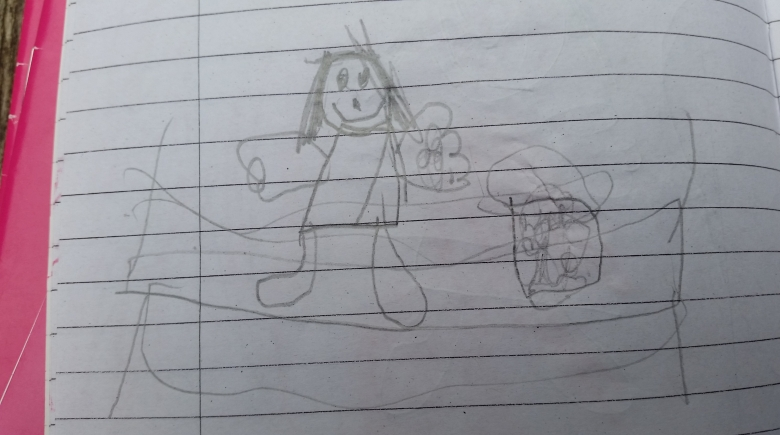 Childrens drawing of Kole teaching gardening