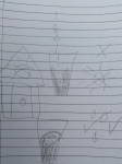 Childrens drawing of rain, sun and soil